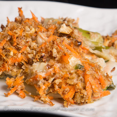 Leek and Crunchy Carrot Gratin