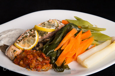 Baked Fish with Caper Dressing and Salsa Brava