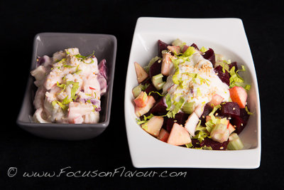 A duo of beetroot, celery and apple salads
