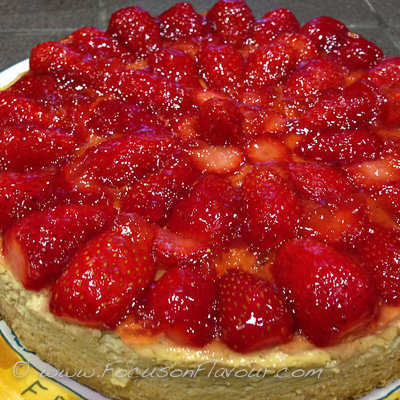 Lemon Yogurt Cheesecake with Strawberries