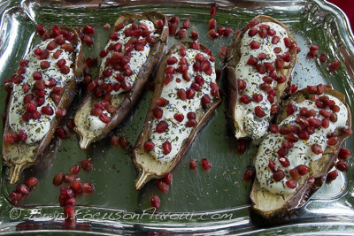 Aubergine with Yogurt and Pomegranate