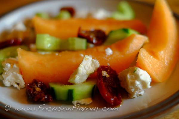 Melon, Cucumber, Goats Cheese, Sundried Tomatoes