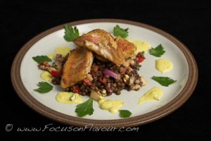Red Mullet with Coconut Lime Sauce and Puy Lentil Salad