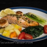 Stuffed Salmon Fillet with Steamed Vegetables