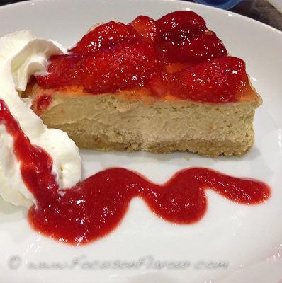 Lemon Yogurt Cheesecake with Strawberries