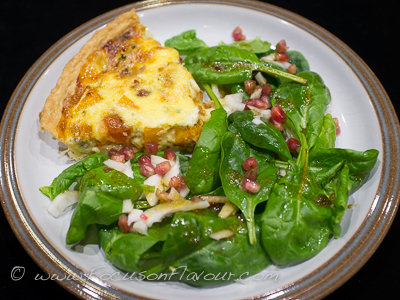 Squash, Stilton and Quince Tart with Spinach, Fennel and Pomegranate Salad