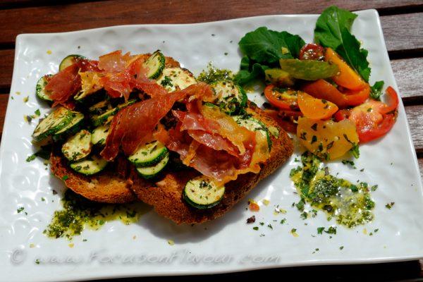 Courgette Bruscetta with Crispy Jambon Cru