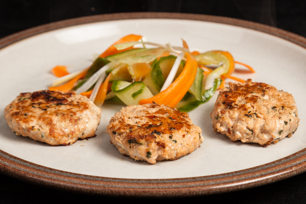 Thai Salmon Patties with Pickled Vegetable Ribbons